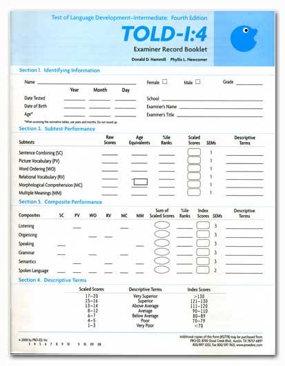 TOLD:I-4 PROFILE/EXAMINER RECORD FORMS [12778] - £61.00 : Ann ...